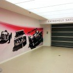 Wall graphics in car showroom