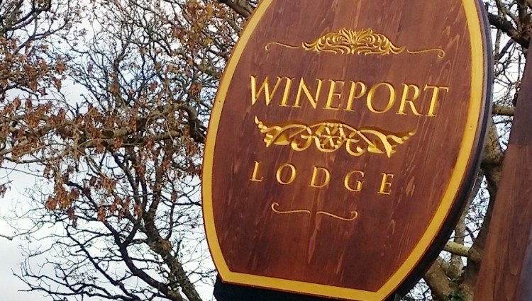 Beautiful Engraved Cedarwood Sign at Wineport Lodge