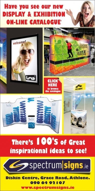 exhibition stands, display stands, signs, pavement signs, banners, pop up banners