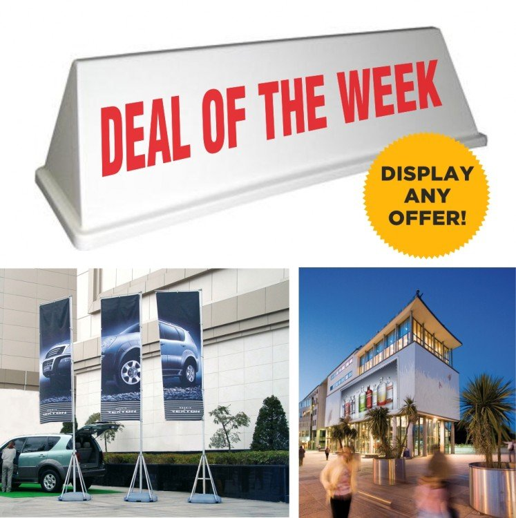 car roof sale signs, roll up banners, banners, forecourt flags and bunting