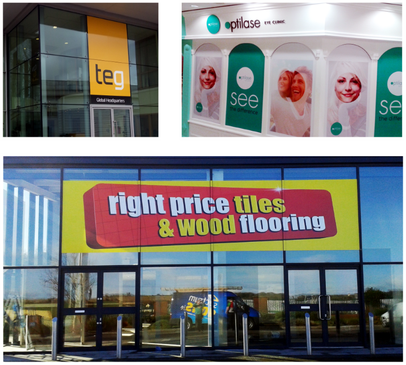 Printed vinyl graphics for shop windows